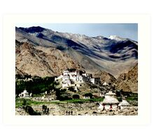 mountain temples. ladakh, india Art Print