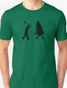 Funny Christmas tree is chased by Lumberjack / Run Forrest, Run! Unisex T-Shirt