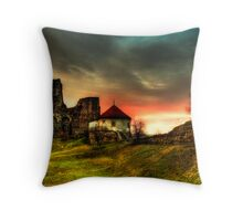 Castle and sunset Throw Pillow