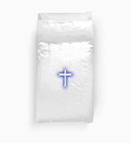 Blue Glowing Cross Duvet Cover