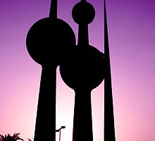 Kuwait Towers in Pink by BEECOOL