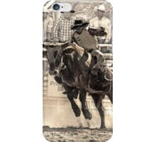 A Rodeo Cowboy Rides his Bull iPhone Case/Skin