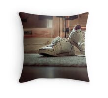 Worn in! shoes Throw Pillow