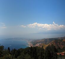 Naxos bay seen from the Greek theater of Taormina, Sicily by Andrea Rapisarda