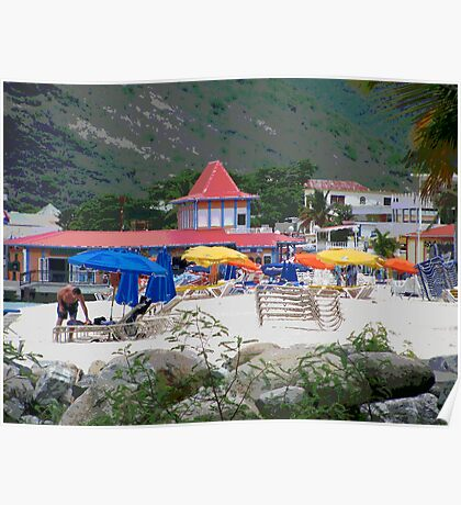 Painted Colorful Beach Scene Poster