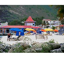 Painted Colorful Beach Scene Photographic Print