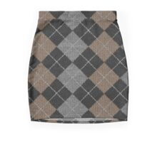 Argyle Print in Brown, Black and Silver Mini Skirt