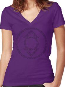 Indigo Lantern Oath (Black) Women's Fitted V-Neck T-Shirt