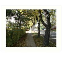 Fall sidewalk scene Art Print