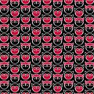 Red, Black and White Owl Pattern by Mariya Olshevska