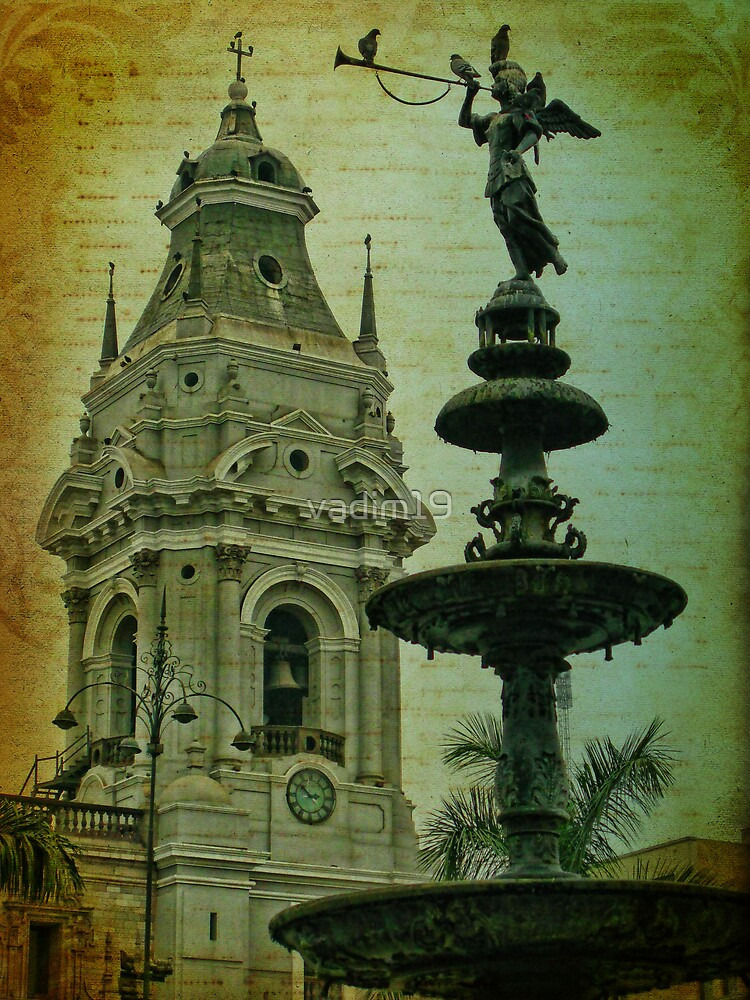 Fountain and Cathedral. Plaza de Armas. Lima. Peru by vadim19