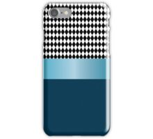 Design of black and white diamonds with blue ribbon. iPhone Case/Skin