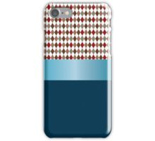 Design of white, red, gray and brown diamonds with blue ribbon. iPhone Case/Skin