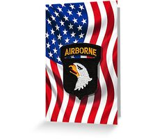 101st Airborne - American Flag Greeting Card