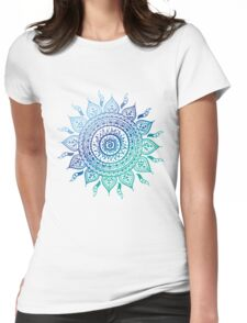 Blue Gradient Mandala  Womens Fitted T-Shirt
