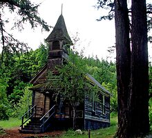 Ghost Town  Church in Golden Oregon by Chuck Gardner
