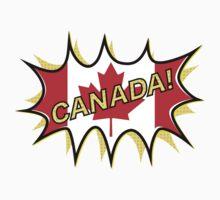 Canadian Flag Comic Style Starburst One Piece - Short Sleeve
