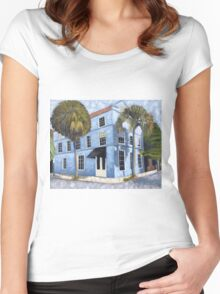 Blue House, architecture, oil painting by Velma Serrano  Women's Fitted Scoop T-Shirt