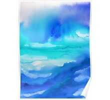 Rise 2 - Abstract Blue Watercolor Poster