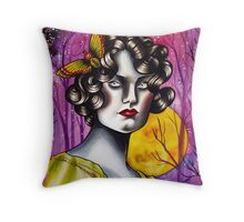 Neotraditional Tattoo Flapper Girl  Throw Pillow