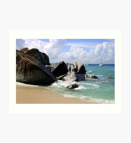 Boulders and Boats At the Baths Art Print