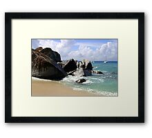 Boulders and Boats At the Baths Framed Print