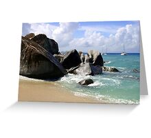 Boulders and Boats At the Baths Greeting Card