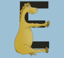 Pony Monogram Letter E Kids Tee