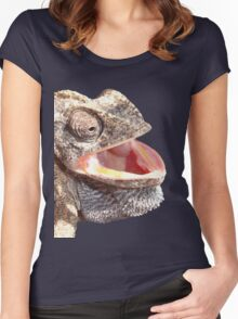 Chameleon with Happy Smiling Expression Vector Women's Fitted Scoop T-Shirt