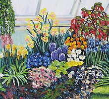 Greenhouse Garden with Blue and Red by Richard Nowak