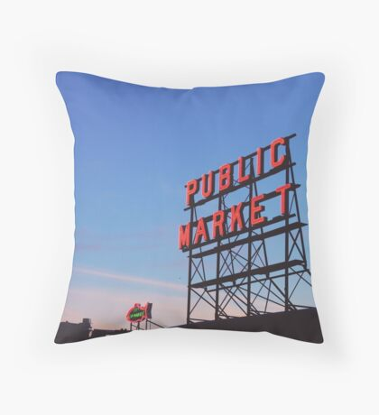 Pike Place Seattle Throw Pillow