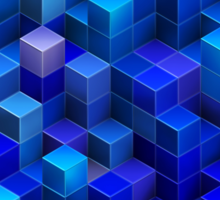 Blue stacked 3D cubes abstract geometric pattern Sticker