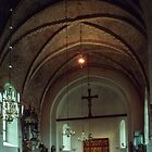 Nave and east end Old Cathedral church Gamla Uppsala Sweden 198406160023 by Fred Mitchell