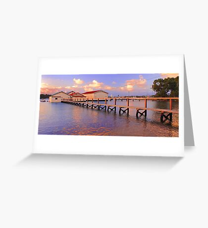 Boatsheds On The Swan At Sunset   Greeting Card