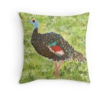 Impressionist Ocellated Turkey Throw Pillow