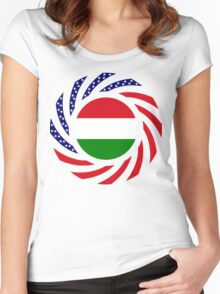 Hungarian American Multinational Patriot Flag Series Women's Fitted Scoop T-Shirt