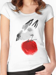watercolor drawing bird, robin at white background, hand drawn vector illustration Women's Fitted Scoop T-Shirt