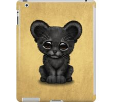 Cute Baby Black Panther Cub on Brown iPad Case/Skin