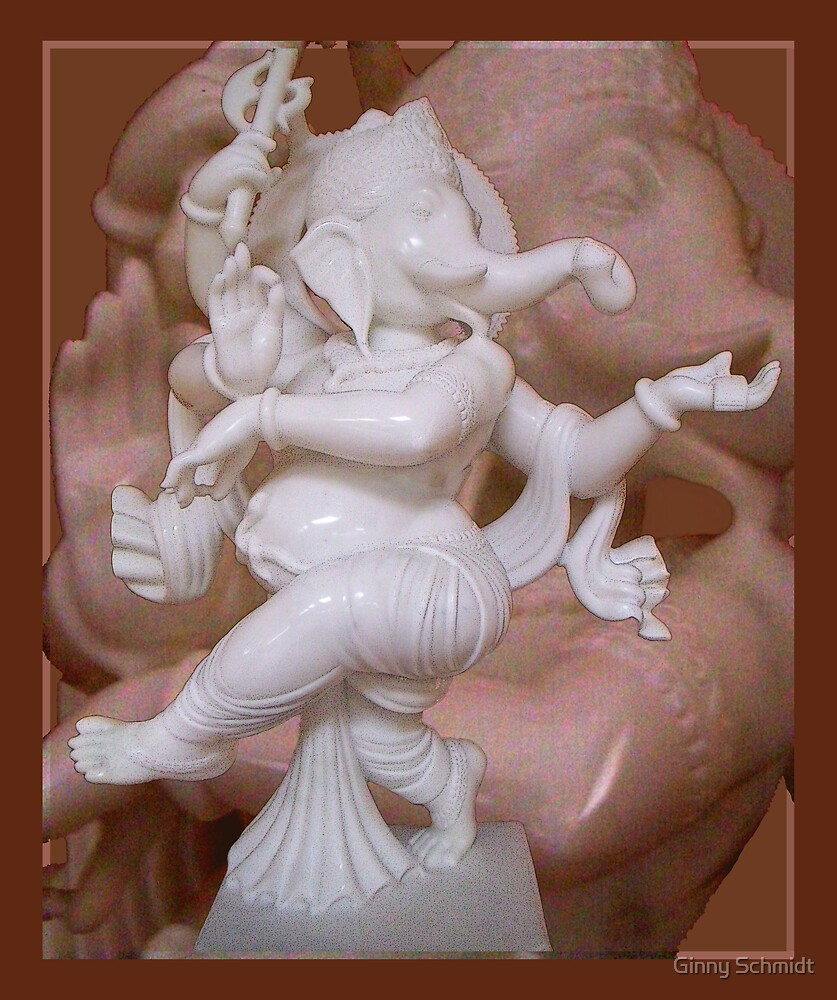 Dancing Ganesh in White Marble by Ginny Schmidt