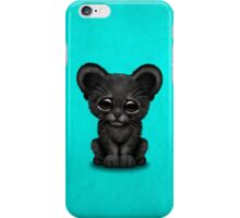 Cute Baby Black Panther Cub on Blue iPhone Case/Skin