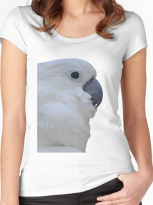 Side Portrait Of A Blue-Eyed Cockatoo Isolated Women's Fitted Scoop T-Shirt