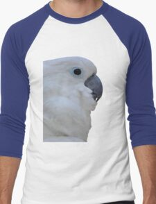 Side Portrait Of A Blue-Eyed Cockatoo Isolated Men's Baseball ¾ T-Shirt