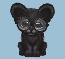 Cute Baby Black Panther Cub Wearing Glasses on Blue Kids Clothes