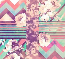 Retro Pink turquoise Floral Stripe Chevron Pattern by GirlyTrend