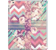 Retro Pink turquoise Floral Stripe Chevron Pattern iPad Case/Skin