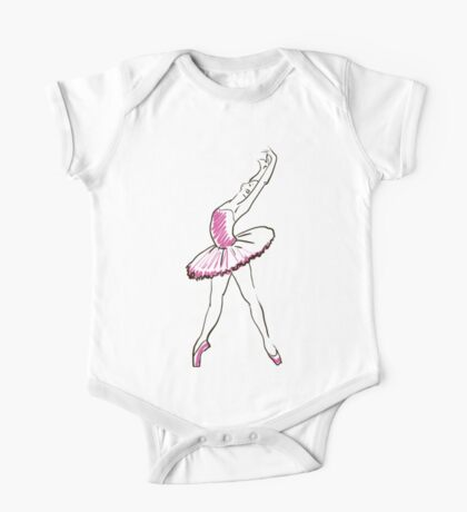 sketch of girls ballerina standing in a pose One Piece - Short Sleeve