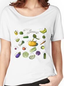 illustration of a set of hand-painted vegetables, fruits Women's Relaxed Fit T-Shirt