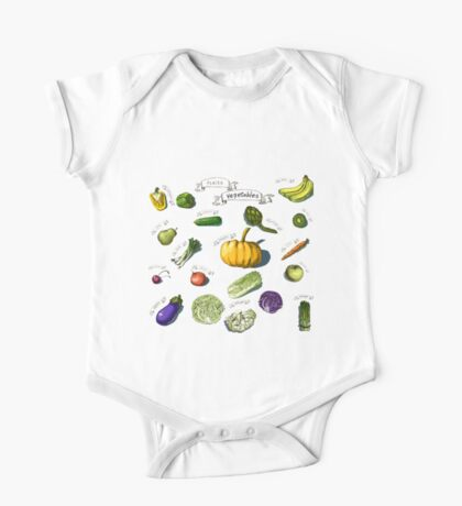illustration of a set of hand-painted vegetables, fruits One Piece - Short Sleeve