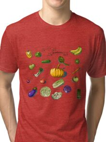 illustration of a set of hand-painted vegetables, fruits Tri-blend T-Shirt
