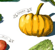 illustration of a set of hand-painted vegetables, fruits Sticker